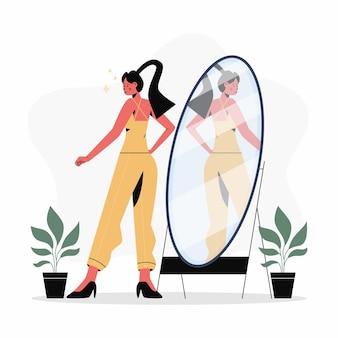 Ilustração de design plano alta auto-estima