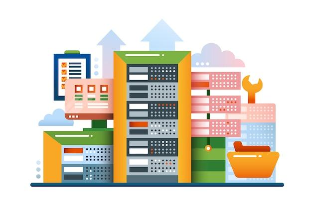 Ilustração de design plano com equipamentos e ferramentas de comunicação