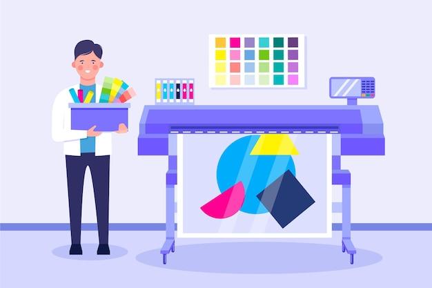 Ilustração de design plano da indústria de impressão