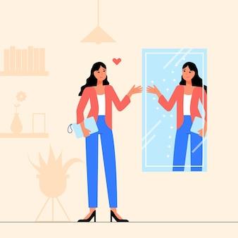 Ilustração de design plano de alta auto-estima