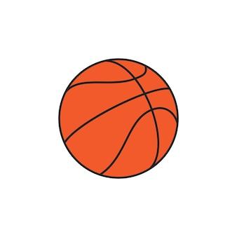 Ilustração de design plano de bola de basquete em um fundo branco