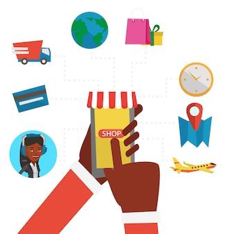 Ilustração de design plano de compras online.