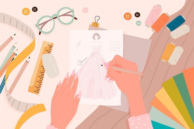 Ilustração de design plano de conceito de designer de moda