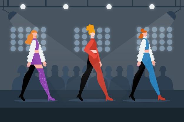 Ilustração de design plano de desfile de moda