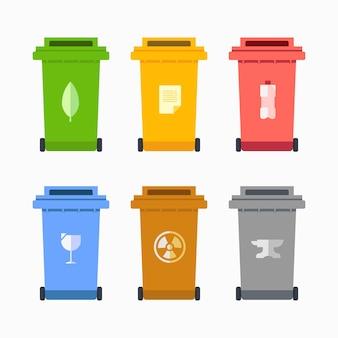 Ilustração de design plano de elementos de resíduos de lixo da lixeira