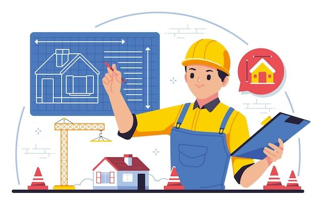 Ilustração de design plano de engenheiro civil