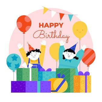 Ilustração de design plano de feliz aniversário