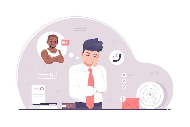 Ilustração de design plano de homem de negócios e cobrador de dívidas