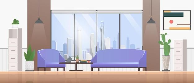 Ilustração de design plano de interiores de sala de estar.