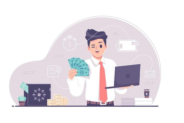 Ilustração de design plano de negócios online