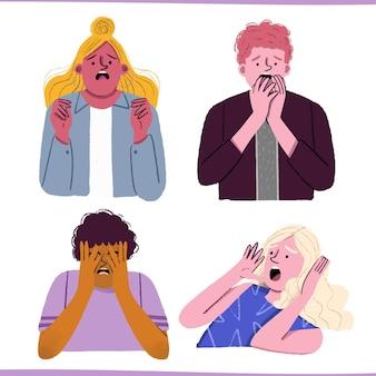 Ilustração de design plano de pessoas com medo