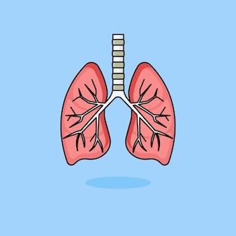 Ilustração de design plano de pulmão humano
