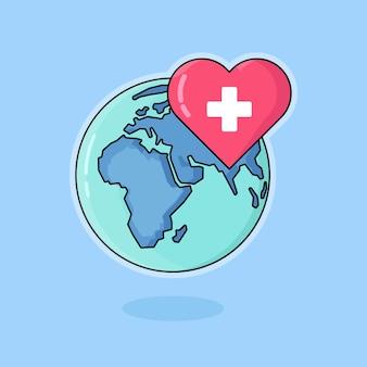Ilustração de design plano de saúde mundial