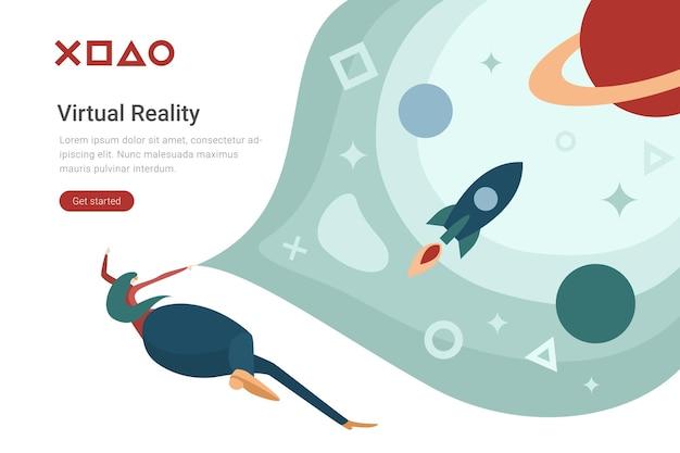 Ilustração de design plano de tecnologia de realidade virtual vr mulher em óculos virtuais no espaço