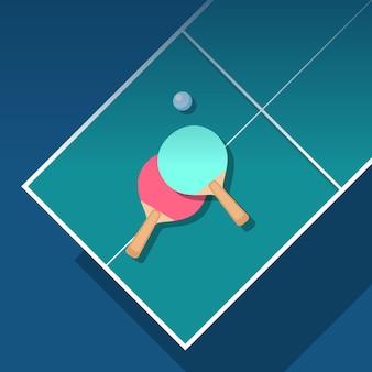 Ilustração de design plano de tênis de mesa