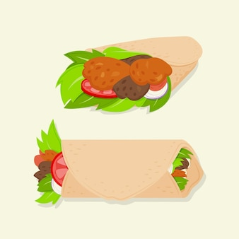 Ilustração de design plano delicioso shawarma