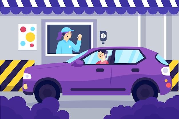 Ilustração de design plano para dirigir pela janela