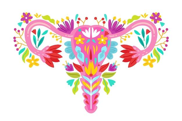 Ilustração de design plano sistema reprodutivo feminino com flores