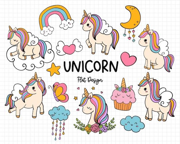 Ilustração de design plano unicorn