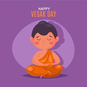 Ilustração de design plano vesak com pessoa meditando