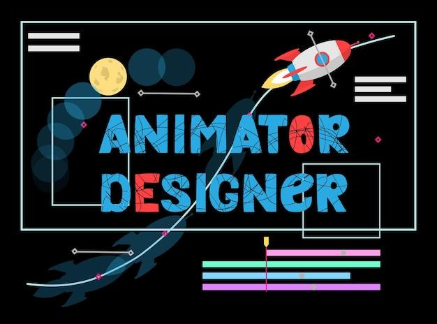 Ilustração de designer de animação conceito de modelagem gráfica de movimento artista trabalho designer de efeito de vídeo