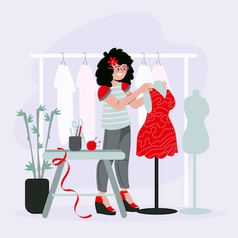 Ilustração de designer de moda com mulher e roupas no cabide