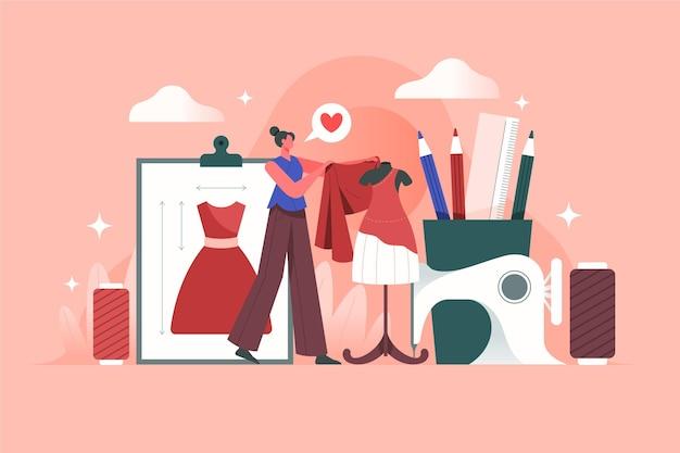 Ilustração de designer de moda com mulher fazendo roupas