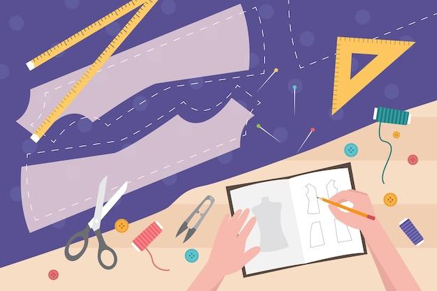 Ilustração de designer de moda desenhada à mão