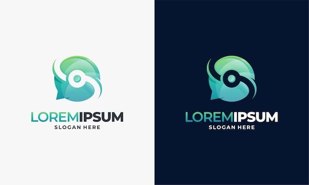 Ilustração de designs de modelos de logotipo em tecnologia moderna