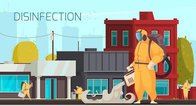 Ilustração de desinfecção de rua
