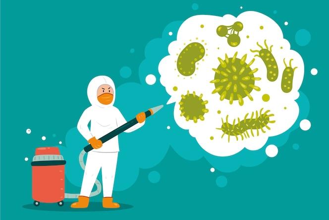 Ilustração de desinfecção de vírus