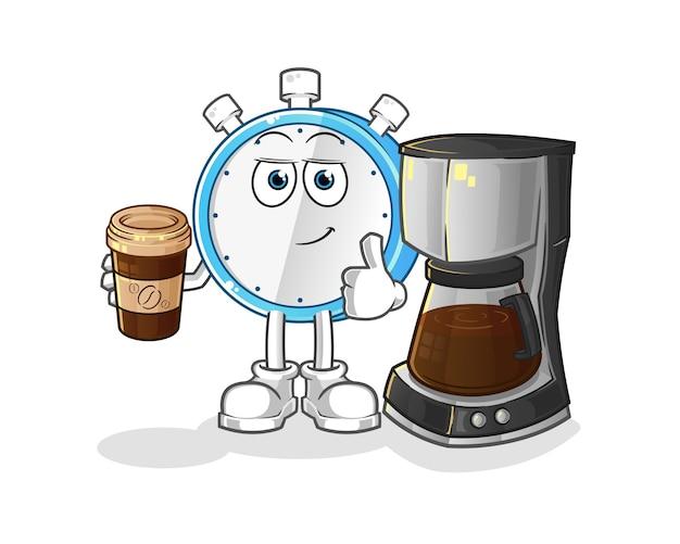 Ilustração de despertador bebendo café