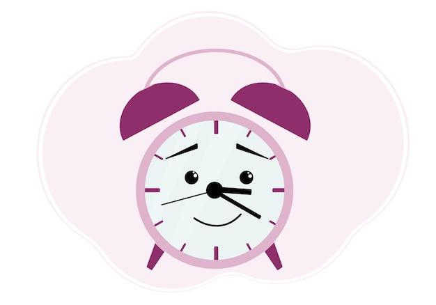Ilustração de despertador de framboesa com emoção de alegria e sorriso fofo
