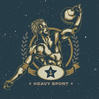 Ilustração de desportista vintage