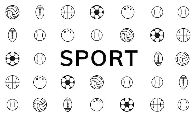 Ilustração, de, desporto, bolas