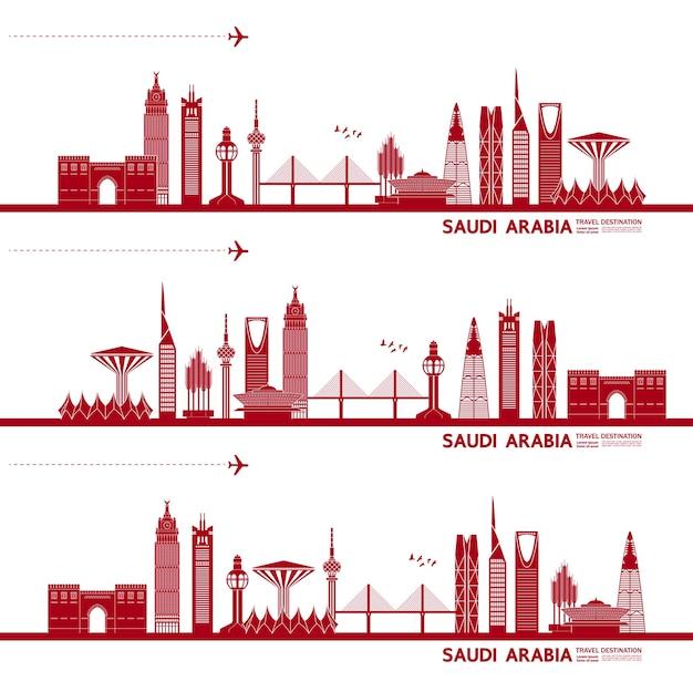 Ilustração de destino de viagem da arábia saudita.