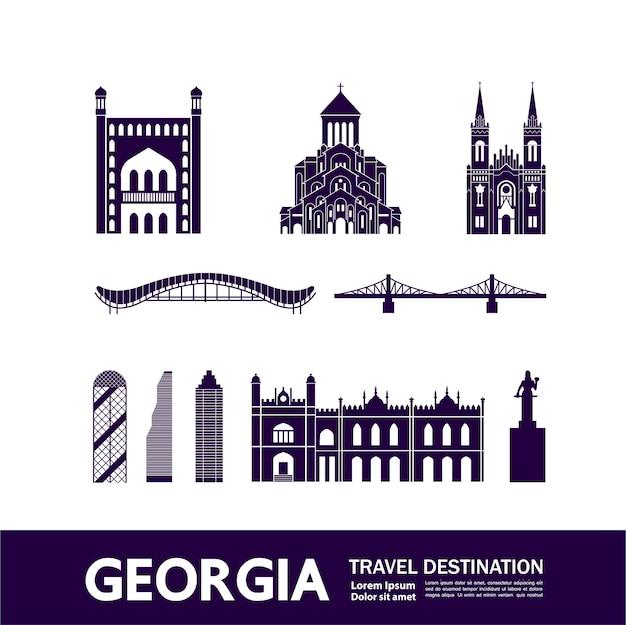 Ilustração de destino de viagem da geórgia.