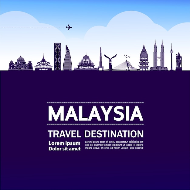 Ilustração de destino de viagem da malásia.