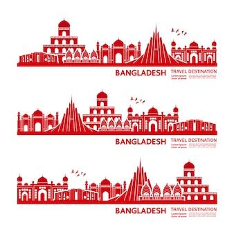 Ilustração de destino de viagem de bangladesh.