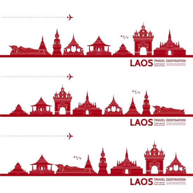 Ilustração de destino de viagem de laos.