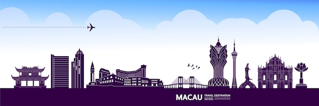 Ilustração de destino de viagem de macau.