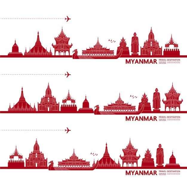 Ilustração de destino de viagem de mianmar.