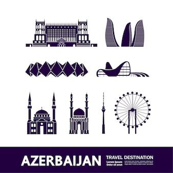 Ilustração de destino de viagem do azerbaijão.