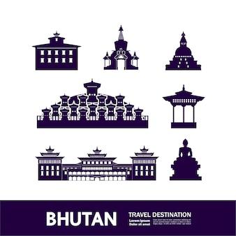 Ilustração de destino de viagem do butão.