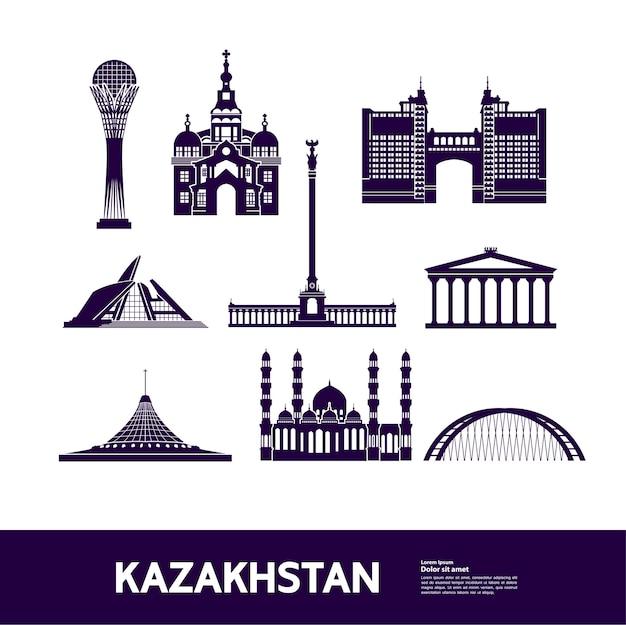 Ilustração de destino de viagem do cazaquistão.