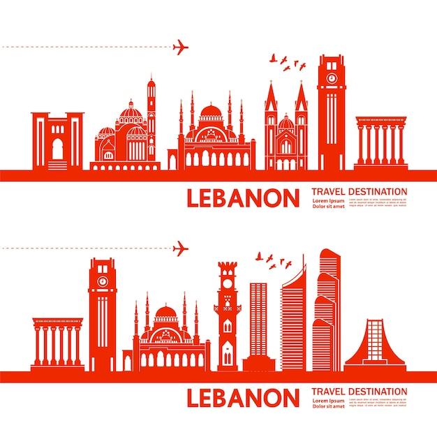 Ilustração de destino de viagem do líbano.