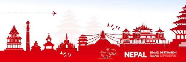 Ilustração de destino de viagem do nepal.