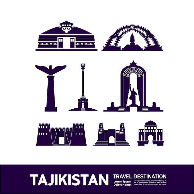 Ilustração de destino de viagem do tajiquistão.