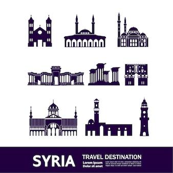 Ilustração de destino de viagem síria.