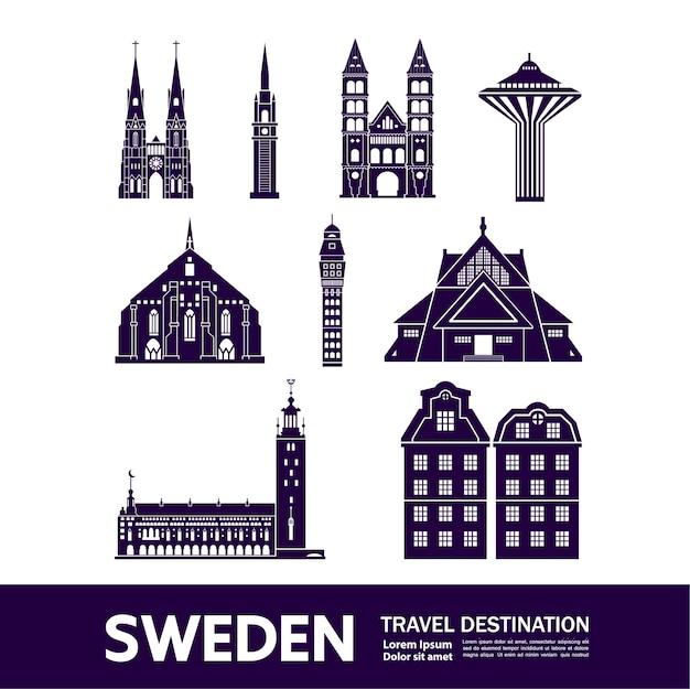 Ilustração de destino de viagem suécia.
